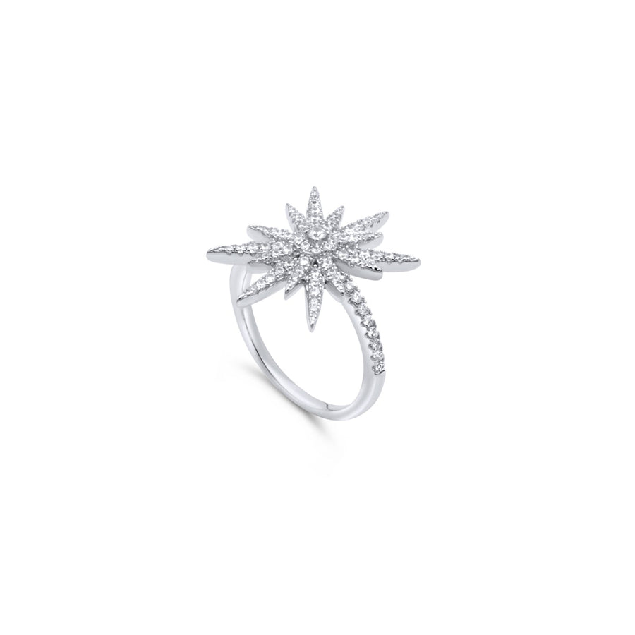 Shop pave starburst ring in sterling silver | Camille Jewelry