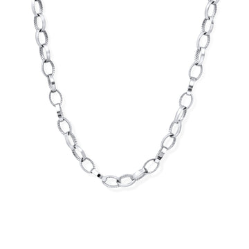Camille Jewelry - Rope texture and smooth surface link necklace.