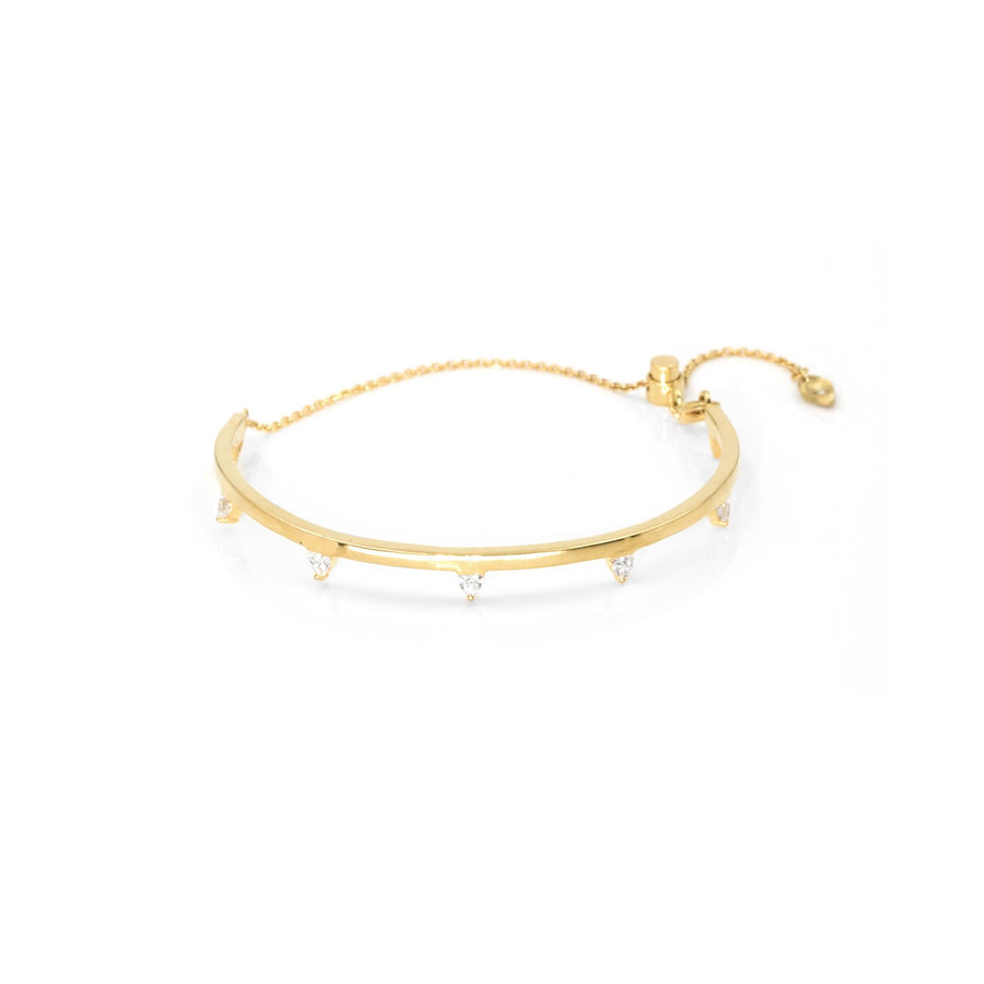 18K gold vermeil bangle with adjustable chain with trillion stones | Camille Jewelry