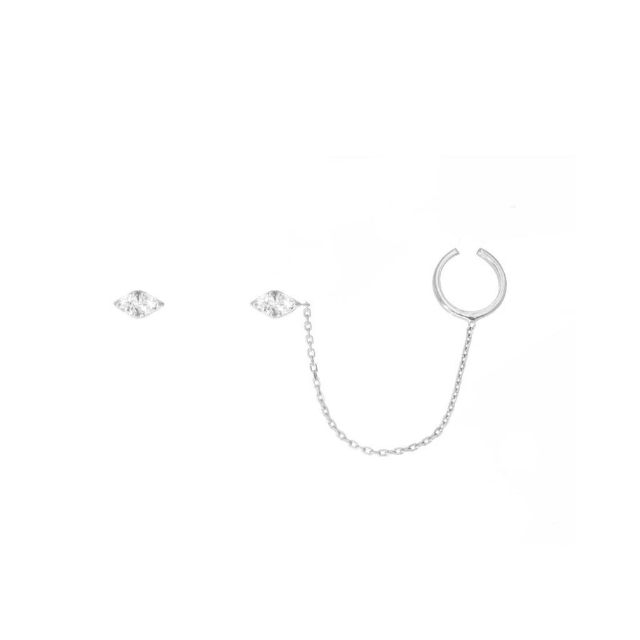 Sterling silver trillion studs with chain swag design | Camille Jewelry