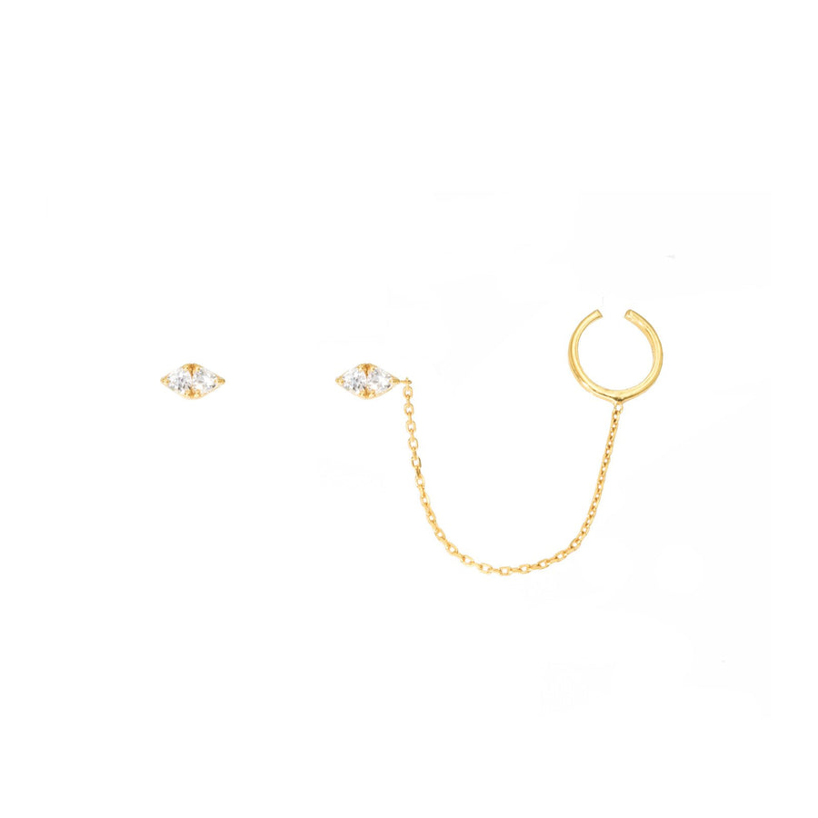 Camille Jewelry- Theia collection, 18 karat gold vermeil trillion classic stud earrings. Asymmetrical design with chain swag ear cuff. Free shipping USA
