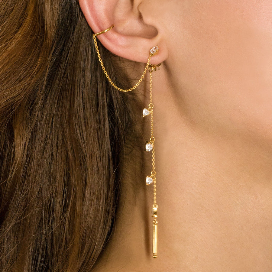 Camille Jewelry - Theia collection, Gold vermeil designed linear earring backs