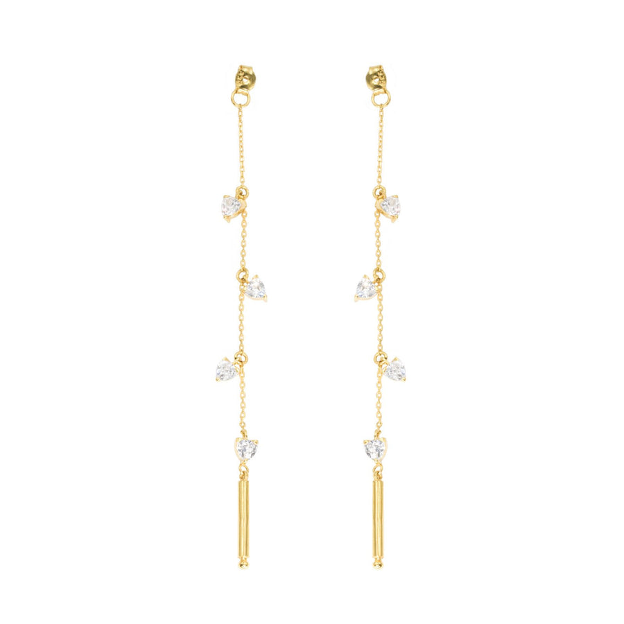 Camille Jewelry - Theia collection, 18K Gold vermeil designed linear earring backs with trillion cubic zirconia charms. Free shipping USA