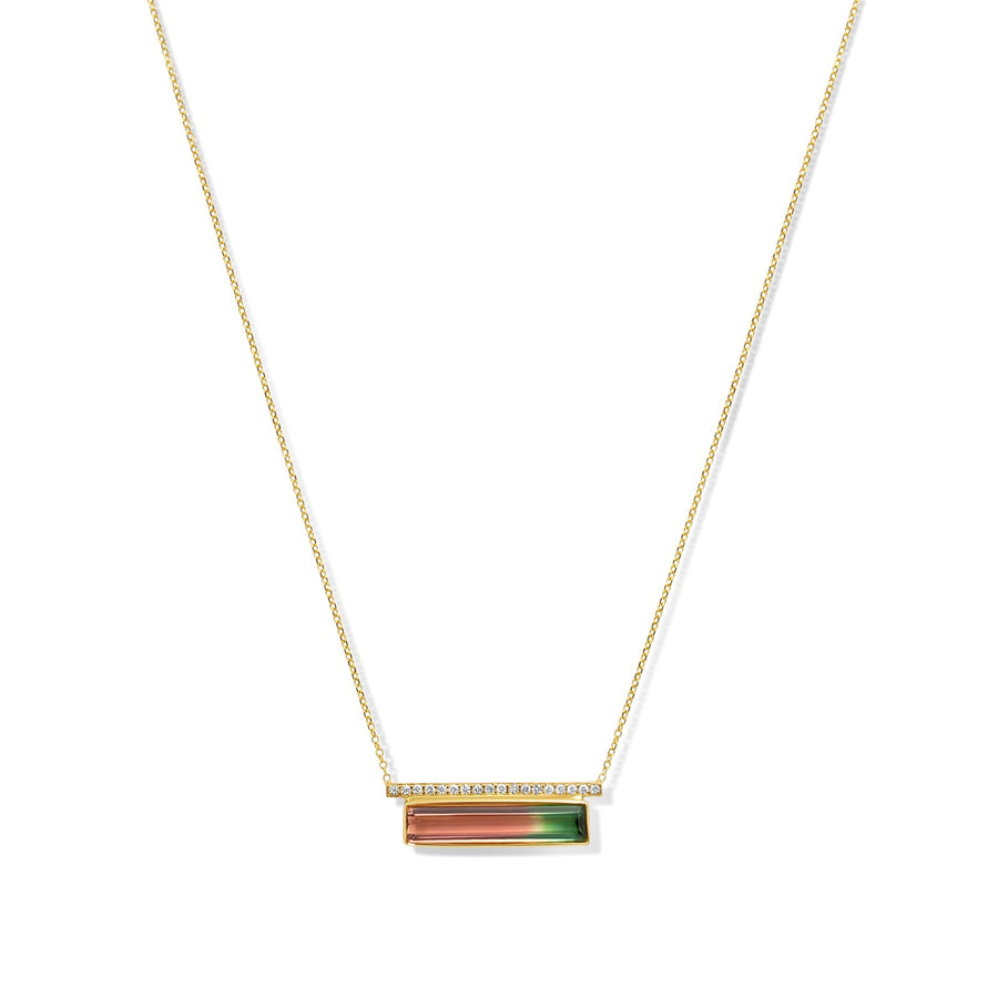 Tourmaline and pave bar diamond 14karat yellow gold necklace | Camille Jewelry