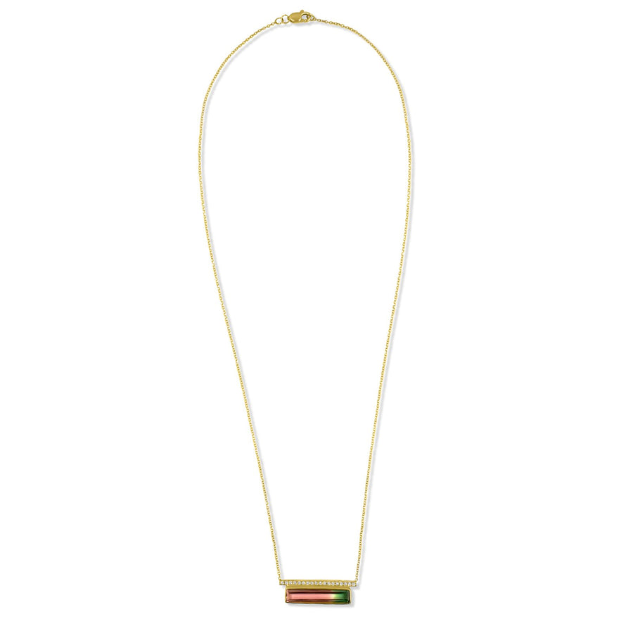 Rectangular watermelon pave bar diamond pendant | Camille Jewelry