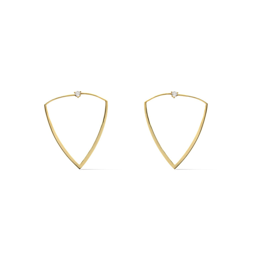 Camille Jewelry- Thyra collection, in and out trillion shaped hoops with trillion cz stud. Made in NYC.  Free shipping USA