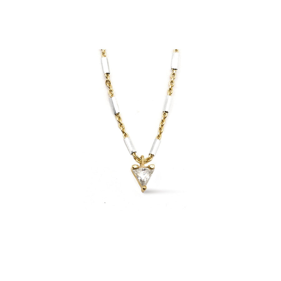 Cubic Zirconia trillion charm necklace on a two tone faceted tube chain from Camille Jewelry.