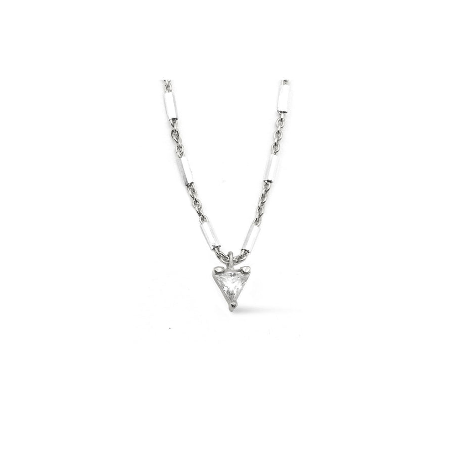 Sterling silver trillion charm necklace with tube chain from Camille Jewelry.
