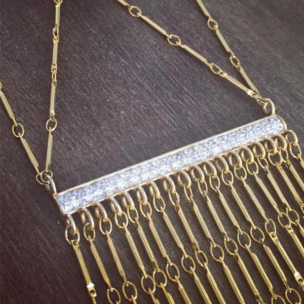 Pave bar detailing on our statement gold necklace from Camille Jewelry| Anuket Collection