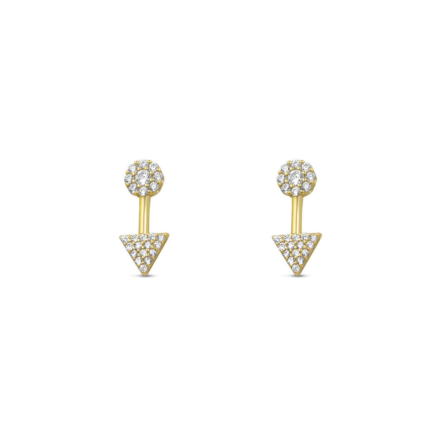 14K gold vermeil mini pave arrow stud earrings | Camille Jewelry