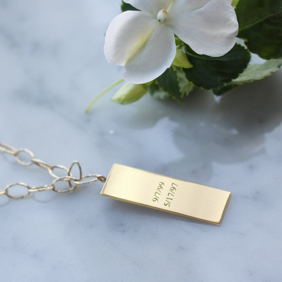 Personalize large plaque pendant in 14K gold filled at Camille Jewelry. Engrave back of pendants with special dates.