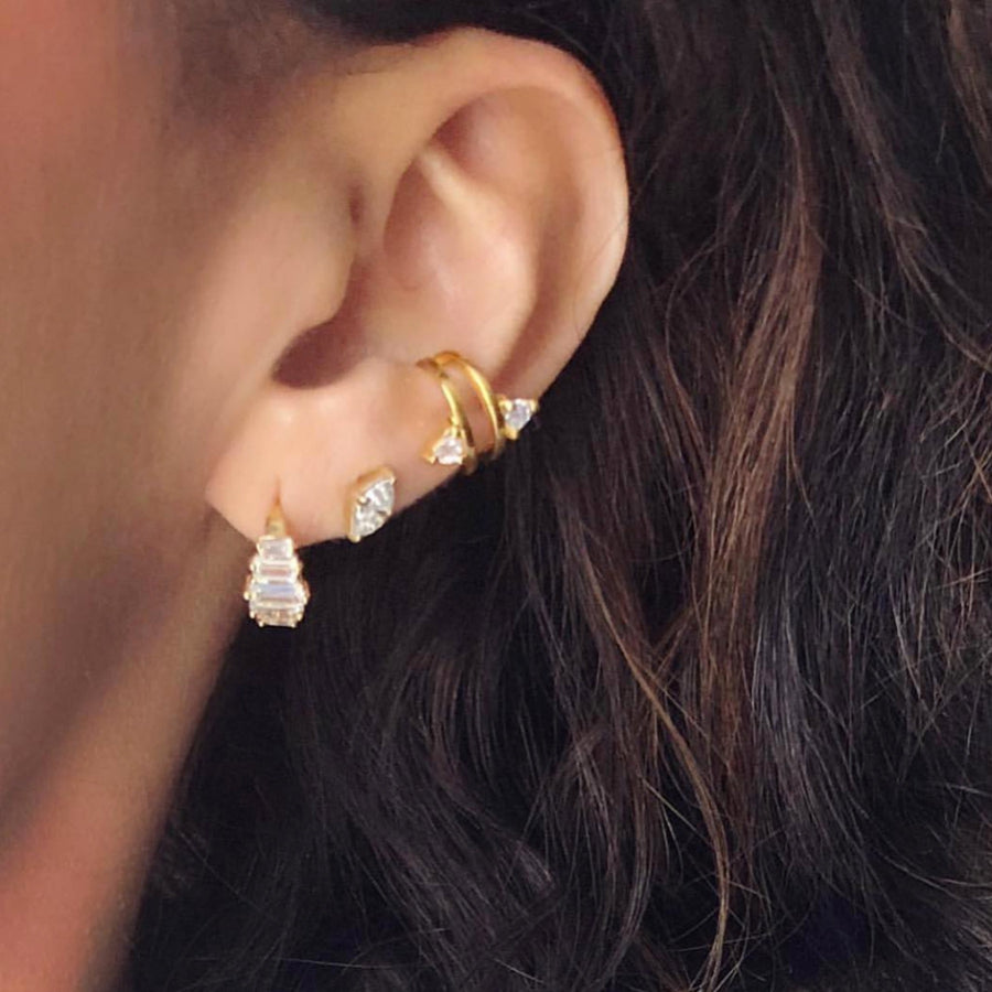 Camille Jewelry - Shop ear candy! Layered gold earring stack. Free shipping within the USA