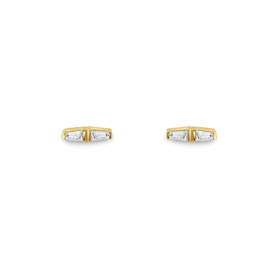 Tapered baguette diamond stud earrings in 14k yellow gold | Camille Jewelry