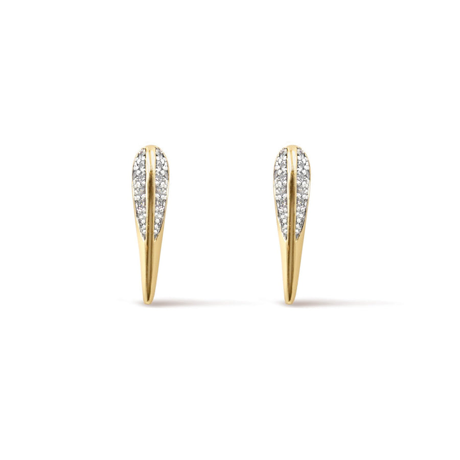 Camille Jewelry- Phoenix Collection, gold plated pave signature bird beak stud earrings in cubic zirconia. Free Shipping USA