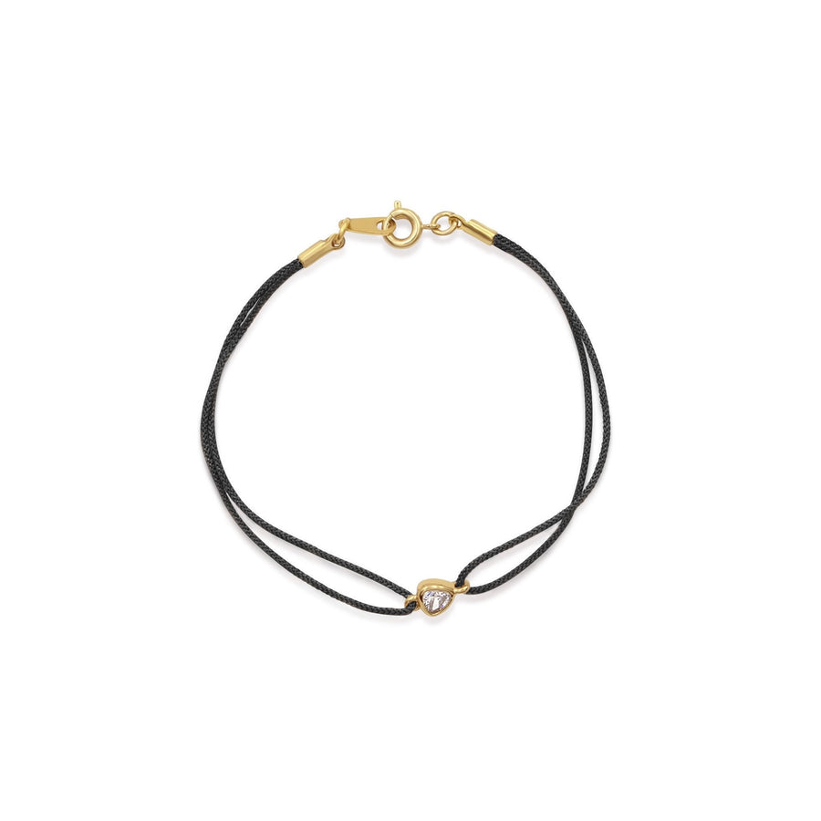 Shop black color corded nylon bracelets with trillion stone | Thyra collection | Camille Jewelry