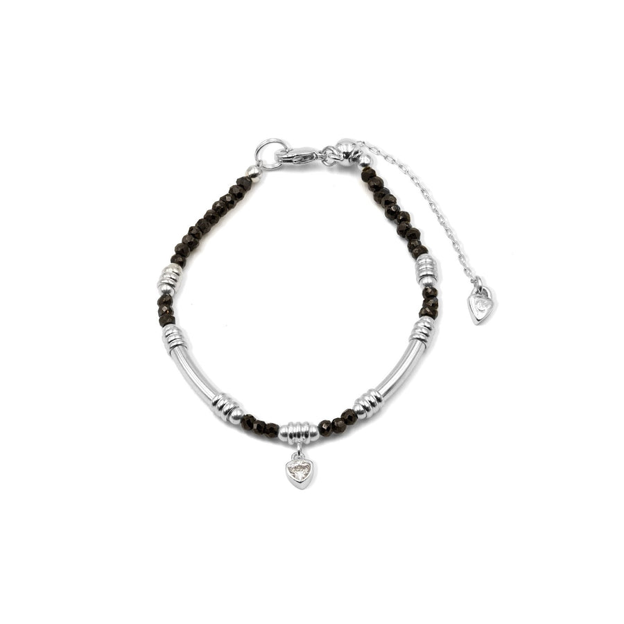 Black spnel beaded bracelet with silver plated tube style from Camille Jewelry.