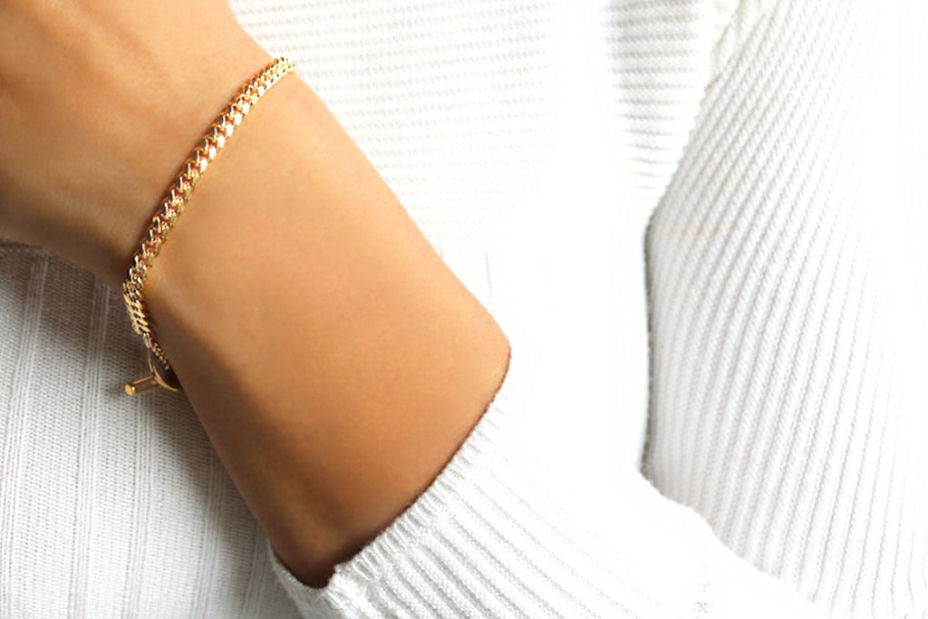 Camille Jewelry- soft curb link gold chain bracelet. Ares collection, made in NYC. Free Shipping