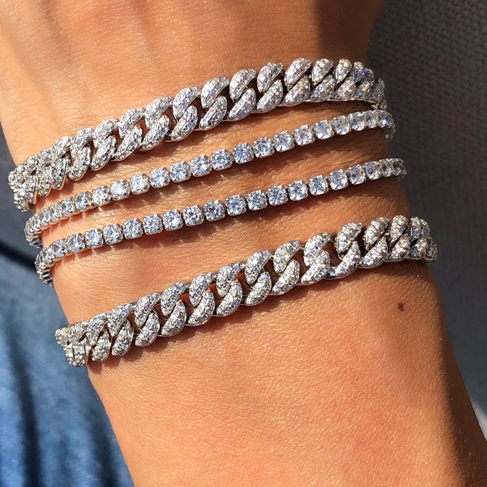 Best seller, Pave sterling silver curb chain bracelet from Camille Jewelry.