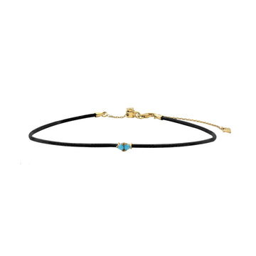 Double trillion turquoise stone on leather choker necklace. Shop Camille Jewelry.