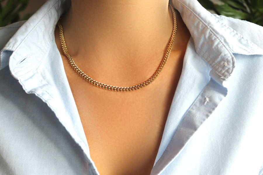 Camille Jewelry-  Flat curb gold link chain necklace. Ares collection, made in NYC. Free shipping