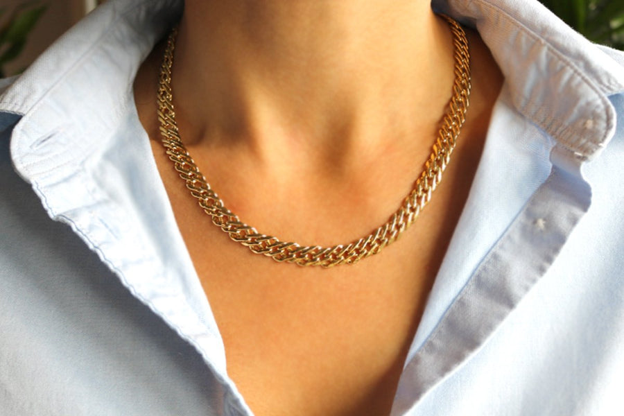 Women's fine fashion jewelry. Flat weave link gold chain necklace | Ares Collection