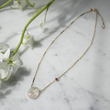 Tourmaline pendant on 14K gold filled chain | Camille Jewelry