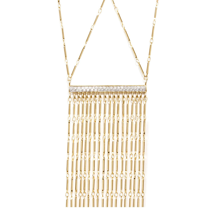 Statement necklace with pave bar and tube chain design| Anuket Collection | Camille Jewelry