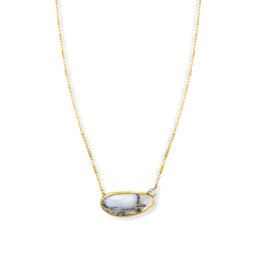 Gold filled station chain necklace with genuine dentritic opal necklace with trillion accent | Camille Jewelry