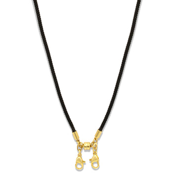 Convertible cord necklace to hold face masks handsfree. Gold plated in a variety of colors | Camille Jewelry