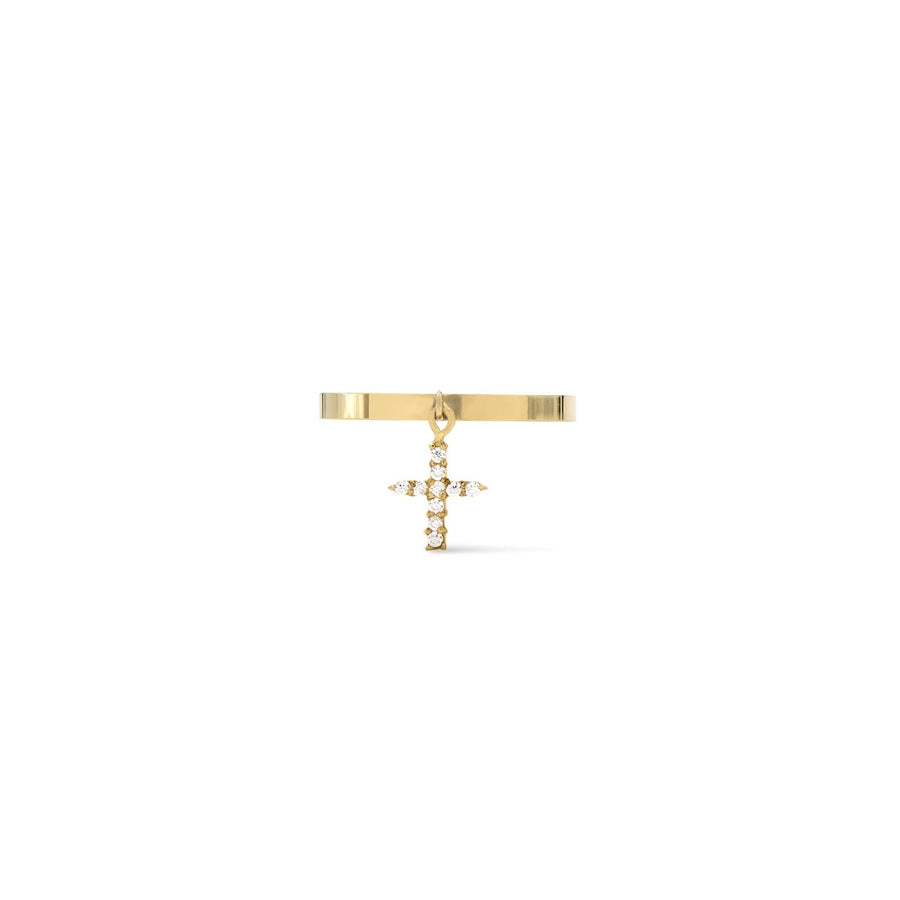 Camille Jewelry- gold plated .925 sterling silver pave cross ring. Made in NYC. Free Shipping