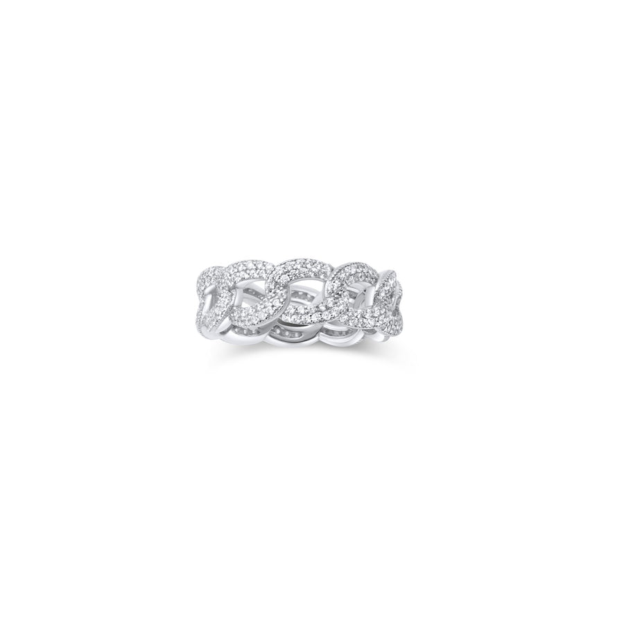 Camille Jewelry - Curb Chain pave ring in sterling silver