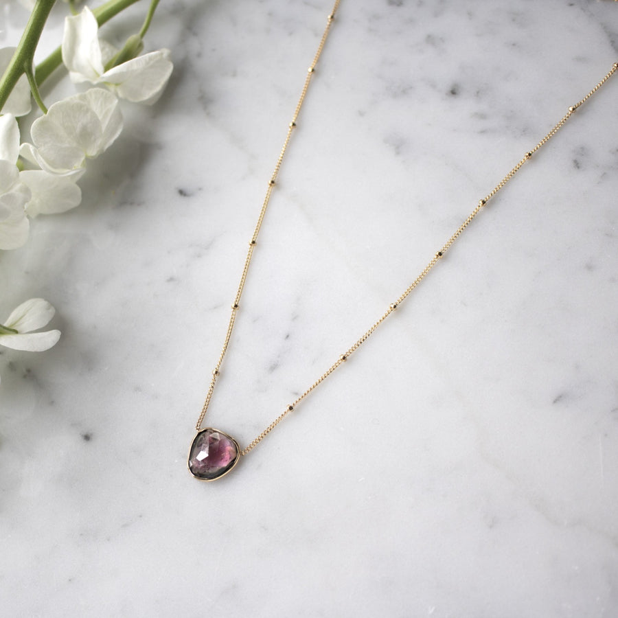 Rose Cut pink tourmaline necklace | 14K Gold Filled | Camille Jewelry