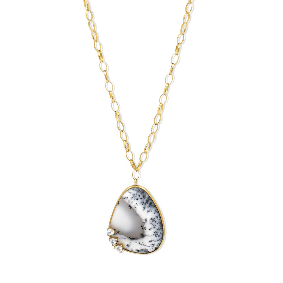 Camille Jewelry- Dendritic Opal handmade pendant in gold filled chain