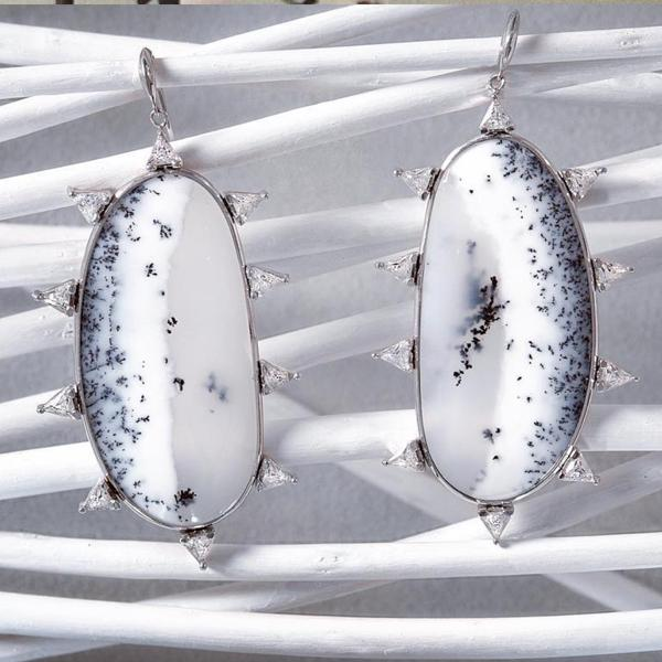 Sterling silver statement earrings in handmade Dentritic opal from Camille Jewelry. Free shipping