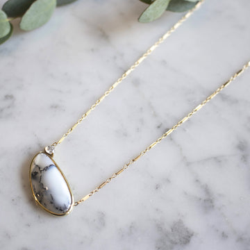 Dentritic Opal stone with our signature trillion stone on 14K gold filled chain | Camille Jewelry