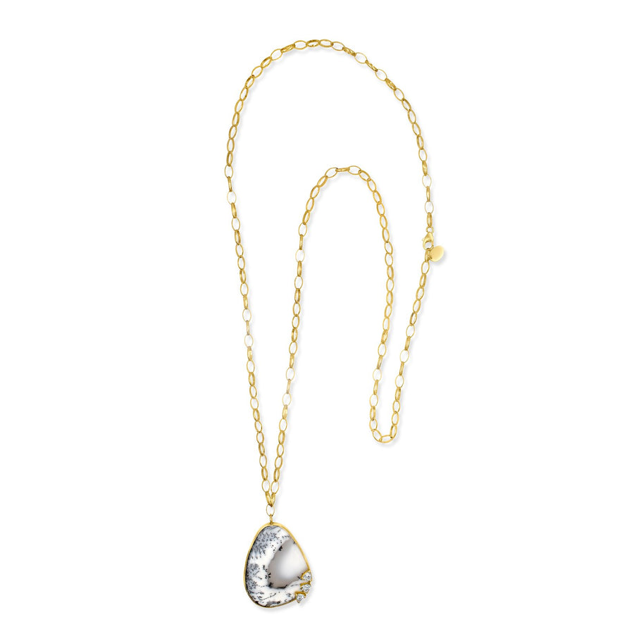 Long oval gold filled chain necklace with Dentritic Opal pendant | Camille Jewelry