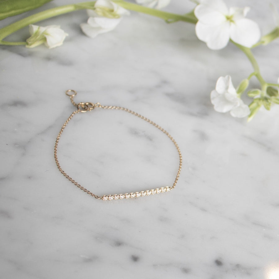 Diamond bar bracelet on delicate chain | Fine Jewelry | Camille Jewelry