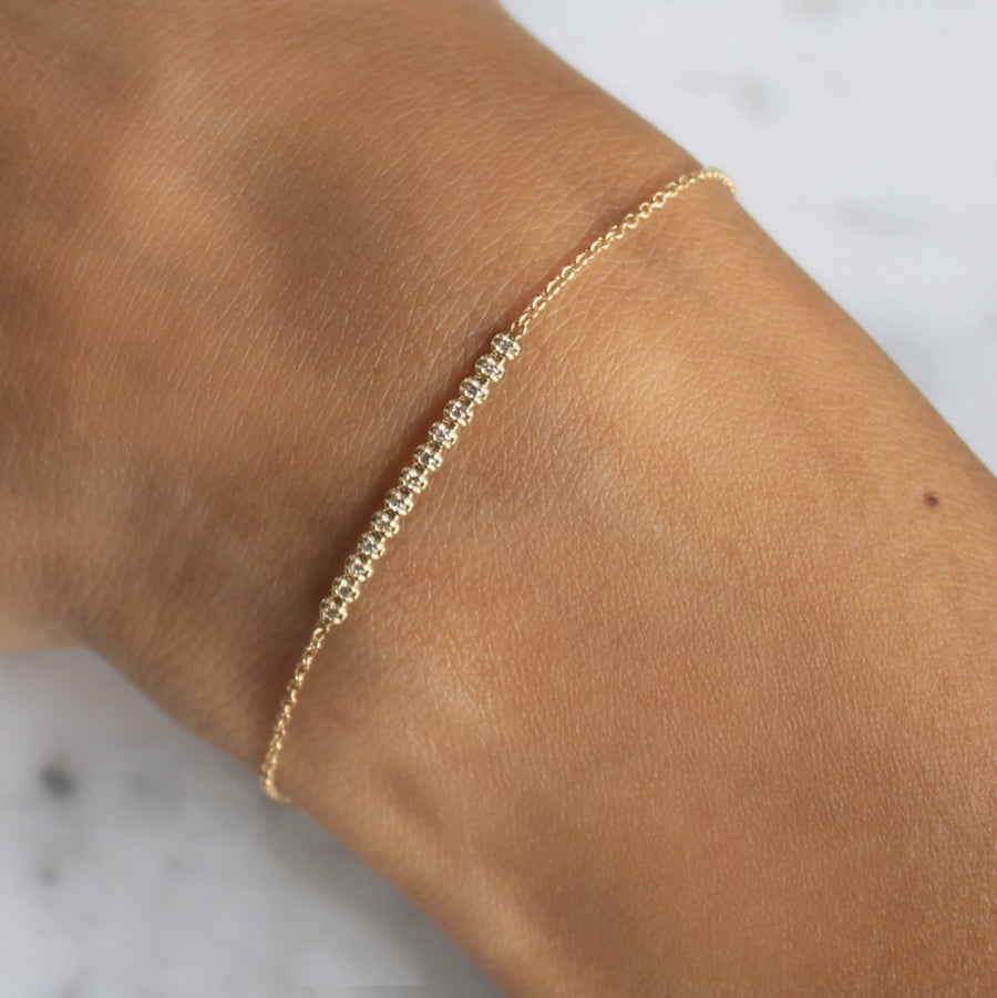 Diamond pave bar bracelet in 14 karat gold from Camille Jewelry. FREE Shipping