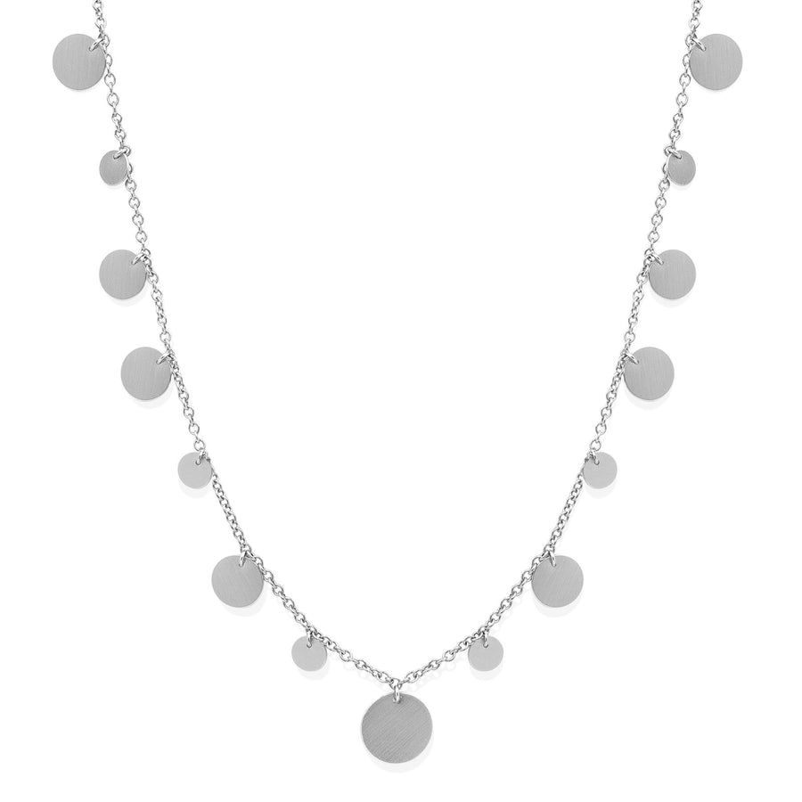 Camille Jewelry - Silver disk charm necklace with brushed finish