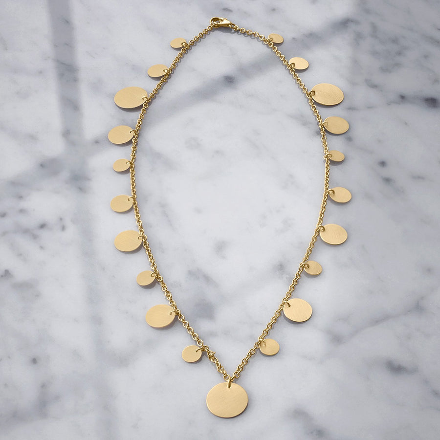 Camille Jewelry - 14K gold charm disk necklace with a brushed finish!