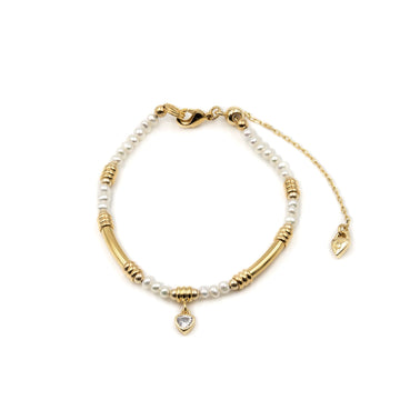 Freshwater pearl beaded bracelet with goldplated tube detailing from Camille Jewelry