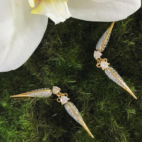 Gold plated bird beak ear crawler earring design from the Phoenix Collection. Shop Camille Jewelry