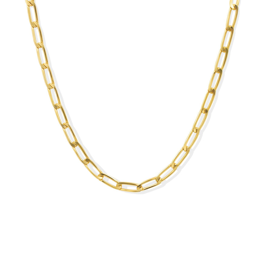 Gold filled elongated curb chain necklace with toggle bar | Camille Jewelry