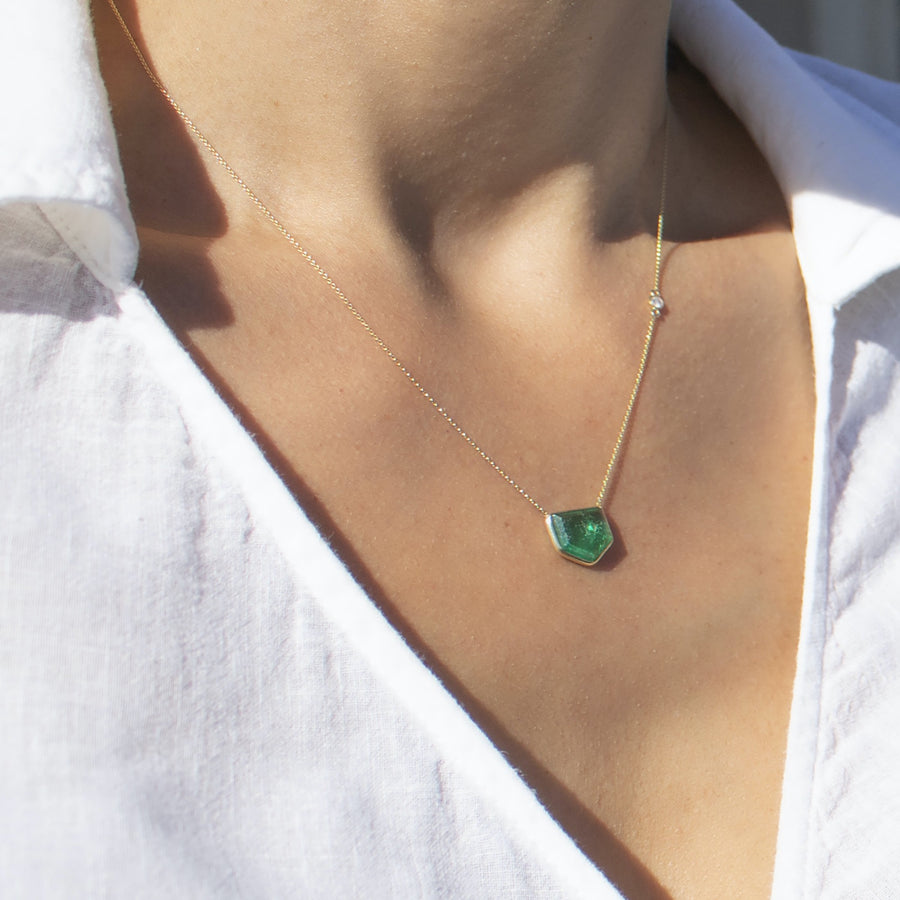 Genuine Emerald stone on delicate chain with a diamond bezel accent | Camille Jewelry