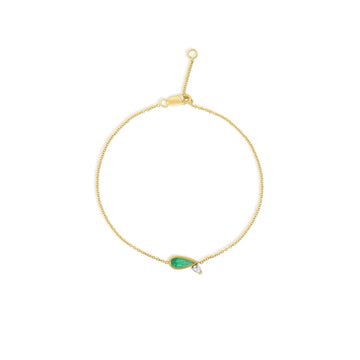 Emerald and diamond teardrop delicate bracelet in 14k yellow gold | Camille Jewelry