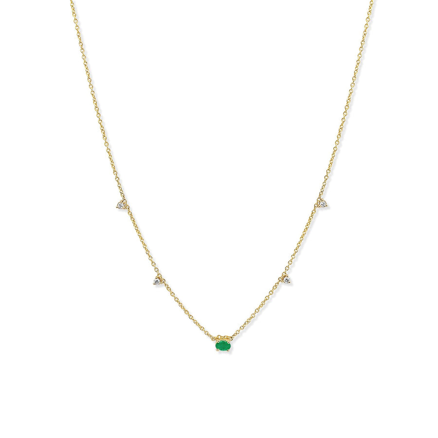 Oval emerald pendant with delicate diamond accents in gold chain | Camille Jewelry