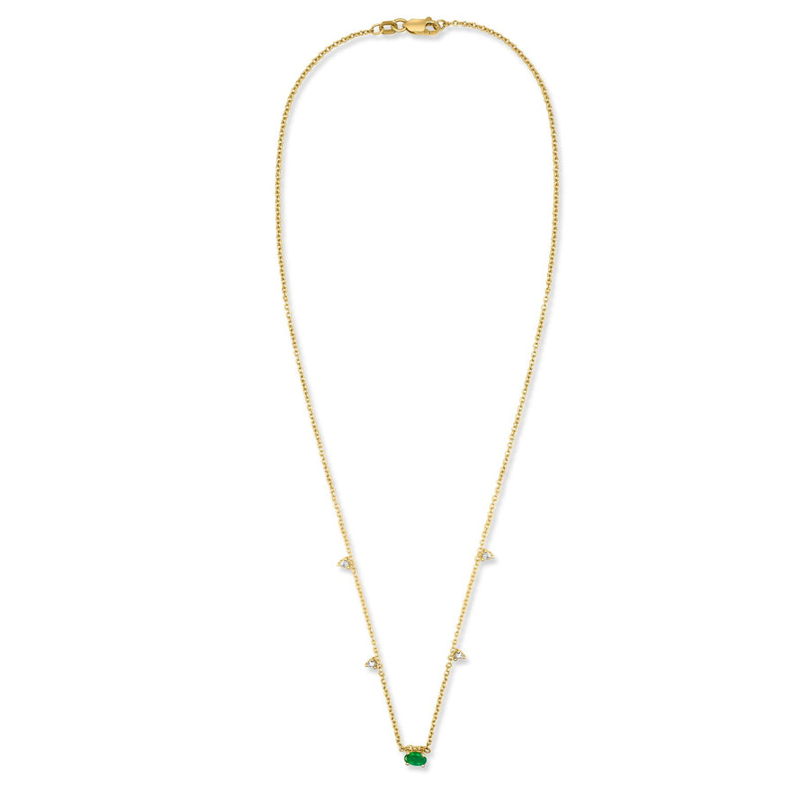 Oval genuine emerald necklace in 14K yellow gold and diamond accents | Camille Jewelry