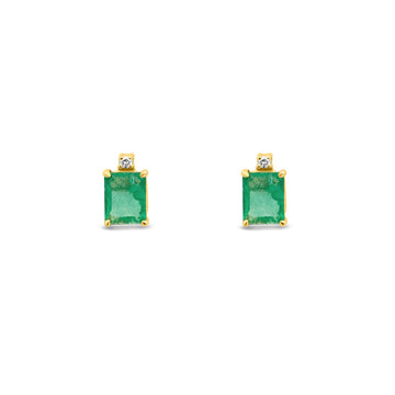 emerald cut emerald stone with diamond accent stud earrings in gold | Camille Jewelry