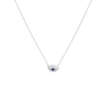Sterling silver evil eye necklace in cubic zirconia | Camille Jewelry