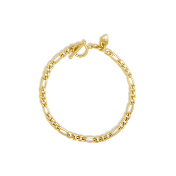 Gold filled figaro chain bracelet with toggle bar | Camille Jewelry